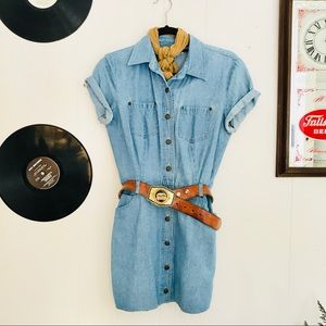 Vintage Mod Chambray Mini Dress